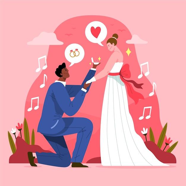 Ręcznie Rysowane ślub Pary Koncepcji Darmowych Wektorów