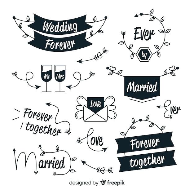Ręcznie rysowane ślubna kolekcja haseł Darmowych Wektorów