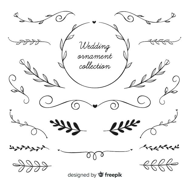 Ręcznie Rysowane ślubna Kolekcja Ornament Premium Wektorów