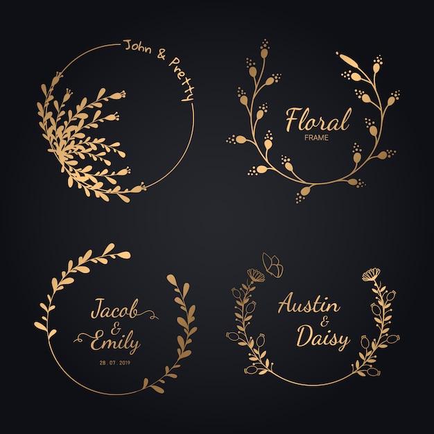 Ręcznie rysowane ślubna kolekcja wieniec na ślub. Premium Wektorów