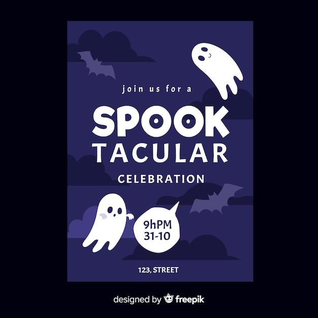 Ręcznie Rysowane Spooktacular Szablon Halloween Party Plakat Darmowych Wektorów