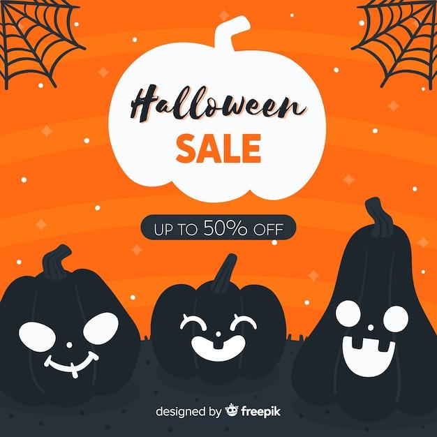 Ręcznie rysowane sprzedaż halloween z buźki dynie Darmowych Wektorów