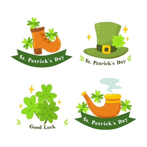 Ręcznie Rysowane St. Kolekcja Etykiet Patricks Day Darmowych Wektorów
