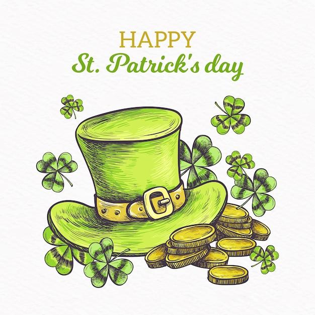 Ręcznie Rysowane St Patricks Day Koncepcja Darmowych Wektorów