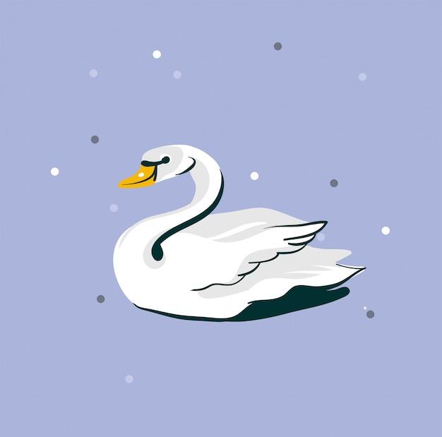 Ręcznie Rysowane Streszczenie Graficzny Ilustracja Z Pięknym ślubnym Białym łabędziem Na Fioletowym Tle Premium Wektorów