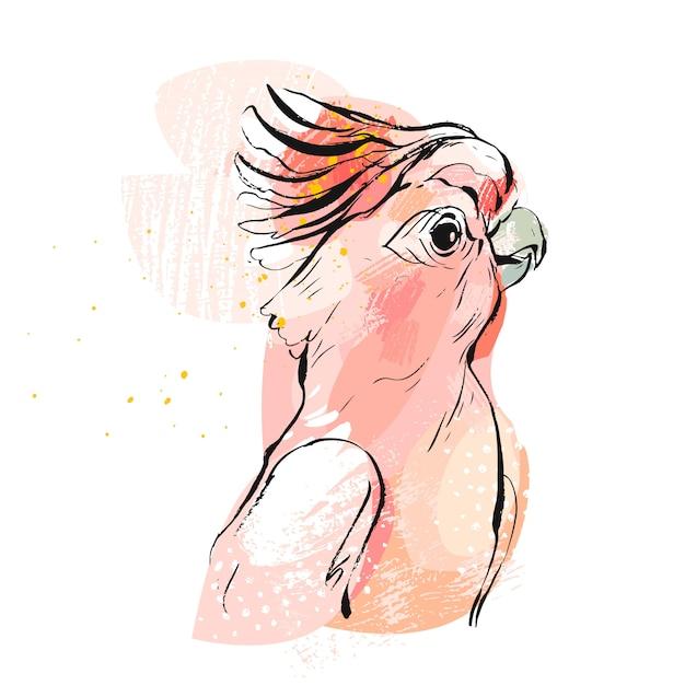 Ręcznie Rysowane Streszczenie Kreatywny Kolaż Tropikalna Papuga Ilustracja Z Teksturą Odręczną W Pastelowych Różowych Kolorach Na Białym Tle.wesele, Urodziny, Zapisz Datę, Niezwykły Element. Premium Wektorów