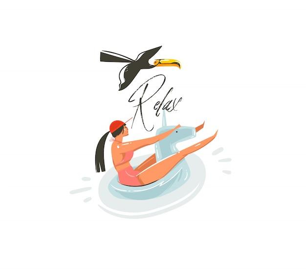 Ręcznie Rysowane Streszczenie Kreskówka Lato Czas Grafiki Ilustracje Sztuki Z Piękną Dziewczyną Na Jednorożec Pływak Pierścień Pływanie Na Basenie I Relaks Typografii Na Białym Tle Premium Wektorów
