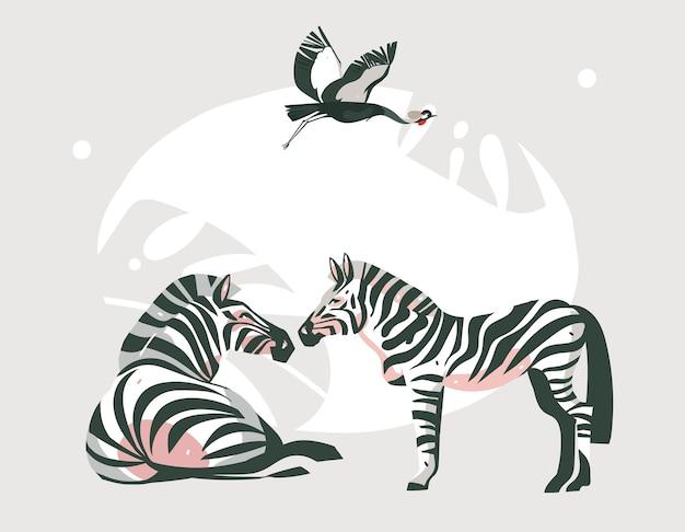 Ręcznie Rysowane Streszczenie Kreskówka Nowoczesna Grafika Afrykańskiego Safari Kolaż Ilustracje Sztuki Baner Ze Zwierzętami Safari Na Białym Tle Na Pastelowy Kolor Tła. Premium Wektorów