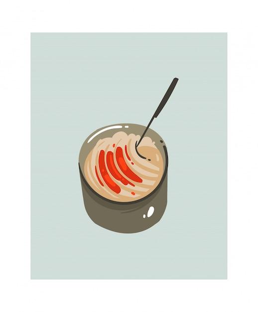 Ręcznie Rysowane Streszczenie Nowoczesny Kreskówka Czas Gotowania Zabawa Ilustracje Ikona Z Dużą Patelnią Z Makaronem Spaghetti Na Białym Tle. Premium Wektorów