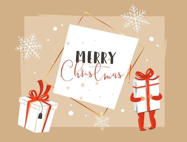 Ręcznie Rysowane Streszczenie Wesołych świąt I Szczęśliwego Nowego Roku Rocznika Ilustracja Kreskówka Premium Wektorów