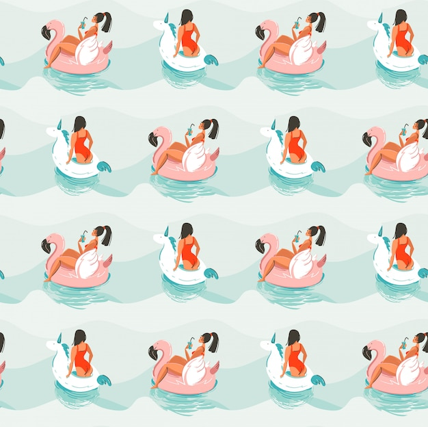 Ręcznie Rysowane Streszczenie Zabawy Czas Letni Ilustracja Wzór Z Dziewcząt Pływanie Na Różowym Flamingu I Jednorożec Pływa Koła W Falach Niebieski Ocean Premium Wektorów