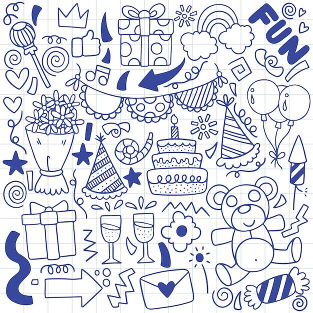 Ręcznie rysowane strony doodle wszystkiego najlepszego ozdoby w tle Premium Wektorów