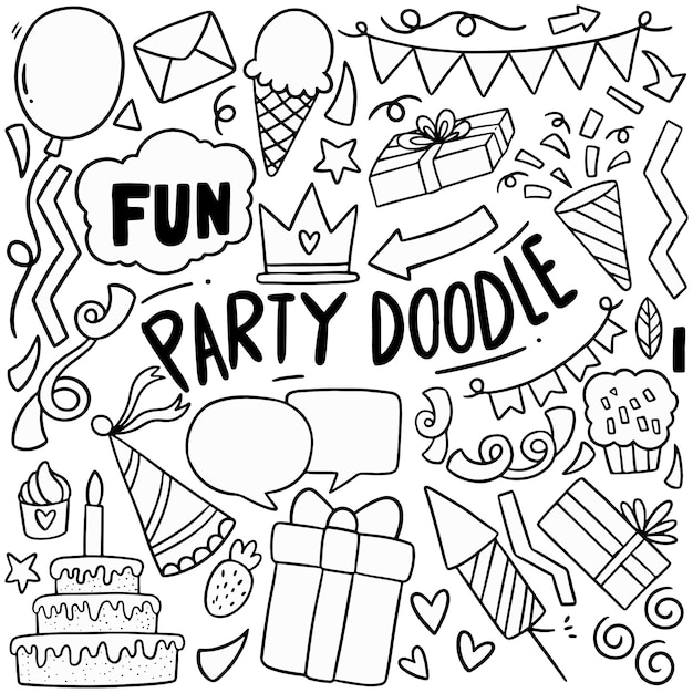 Ręcznie rysowane strony doodle wszystkiego najlepszego ozdoby Premium Wektorów