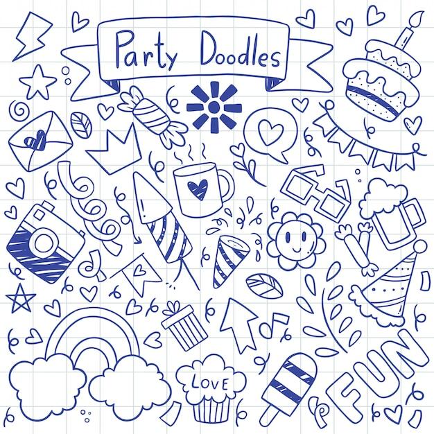 Ręcznie rysowane strony doodle wszystkiego najlepszego wzór ilustracja Premium Wektorów