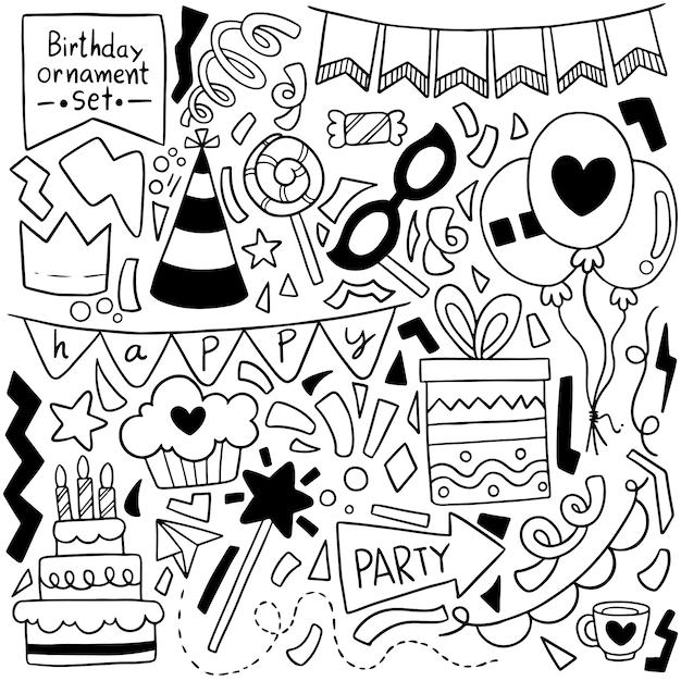 Ręcznie rysowane strony doodle wszystkiego najlepszego z okazji urodzin kreskówki Premium Wektorów