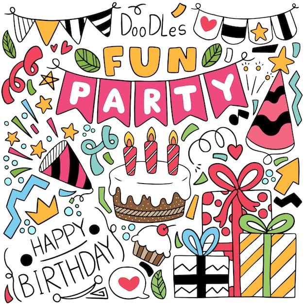 Ręcznie rysowane strony doodle wszystkiego najlepszego z okazji urodzin Premium Wektorów