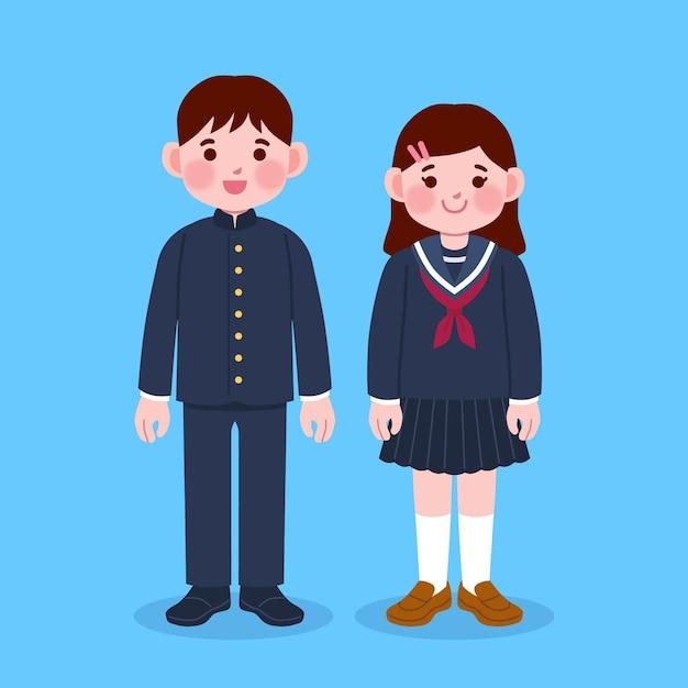 Ręcznie Rysowane Studentów Japońskich Dzieci Z Munduru Darmowych Wektorów