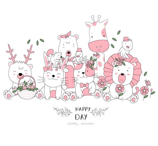 Ręcznie rysowane styl biały ładny kreskówka zwierząt Premium Wektorów
