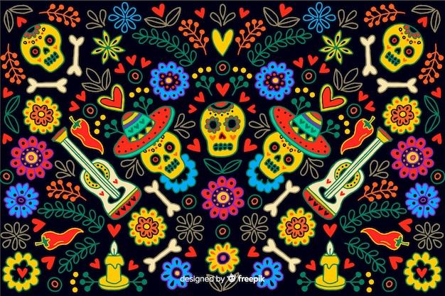 Ręcznie rysowane styl dzień zmarłych tła Darmowych Wektorów