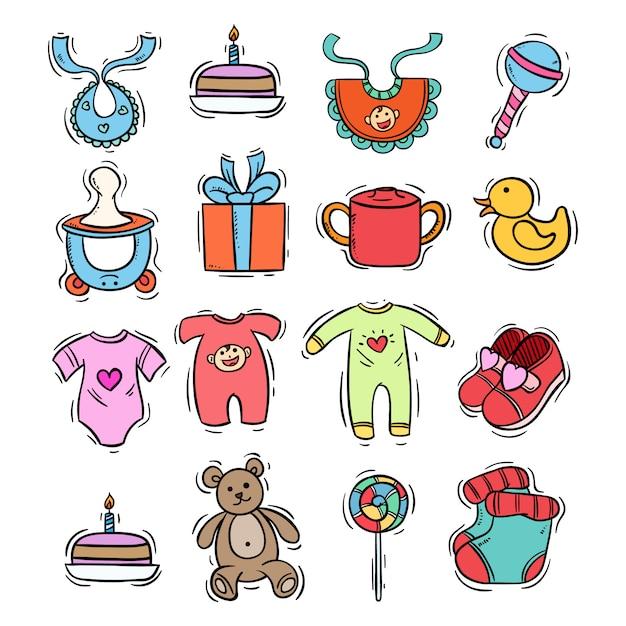 Ręcznie rysowane styl ikon dla dzieci w wzór z kolorem Premium Wektorów
