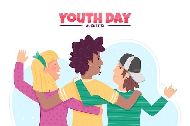 Ręcznie Rysowane Styl Koncepcja Dzień Młodzieży Darmowych Wektorów