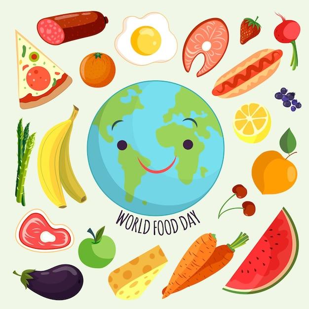 Ręcznie Rysowane Styl światowego Dnia żywności Premium Wektorów