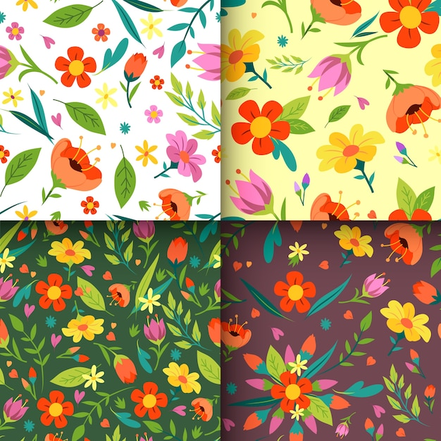 Ręcznie Rysowane Styl Wiosna Wzór Kolekcji Darmowych Wektorów