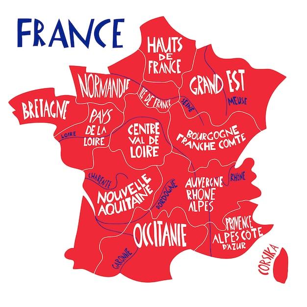 Ręcznie Rysowane Stylizowana Mapa Francji. Ilustracja Podróży Z Francuskimi Regionami, Nazwami Miast. Premium Wektorów