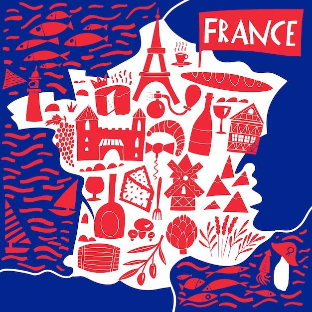 Ręcznie Rysowane Stylizowana Mapa Francji. Podróżuje Ilustrację Z Francuskimi Punktami Zwrotnymi, Jedzeniem I Roślinami. Ilustracja Geografii Premium Wektorów