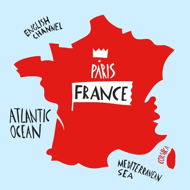 Ręcznie Rysowane Stylizowana Mapa Francji. Podróżuje Ilustrację Z Wodnymi Nazwami. Premium Wektorów