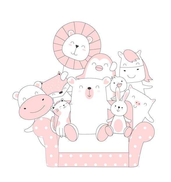 Ręcznie rysowane stylu cute cartoon zwierząt Premium Wektorów