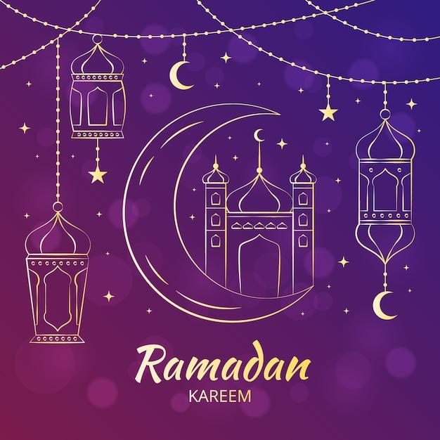 Ręcznie Rysowane Stylu Ramadan Kareem Darmowych Wektorów