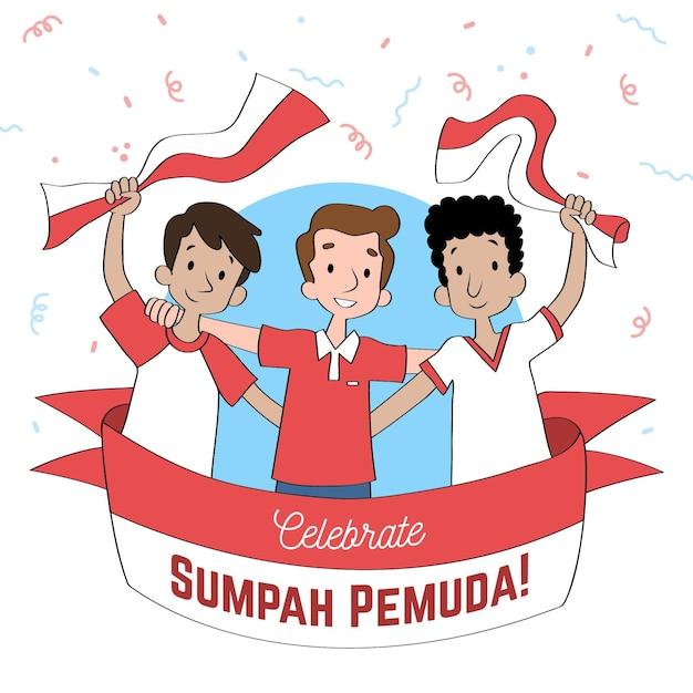 Ręcznie Rysowane Sumpah Pemuda Darmowych Wektorów