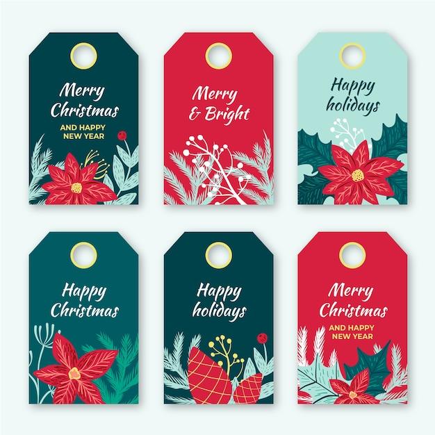 Ręcznie rysowane świąteczna kolekcja etykiet Darmowych Wektorów