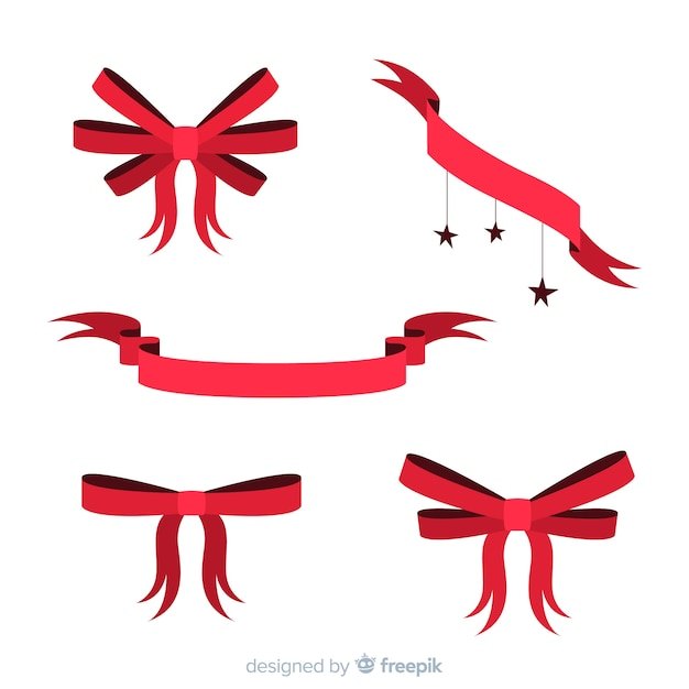 Ręcznie rysowane świąteczną kolekcję wstążek Darmowych Wektorów