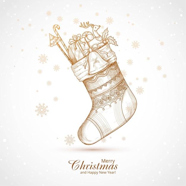 Ręcznie Rysowane świąteczne Skarpety Z Cukierkami I Prezentem W Tle Darmowych Wektorów