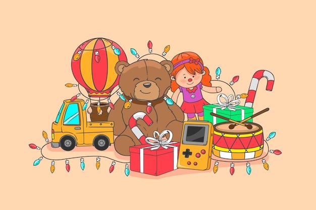 Ręcznie rysowane świąteczne zabawki ilustracji Darmowych Wektorów