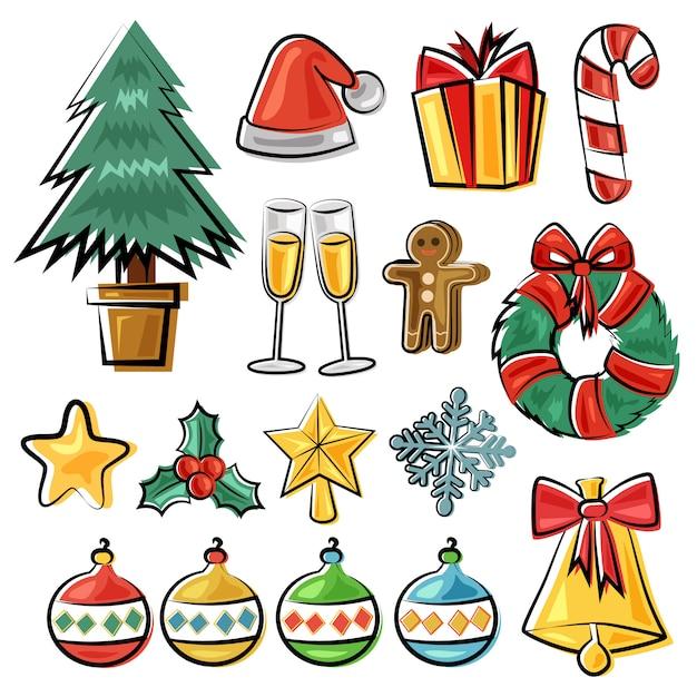 Ręcznie Rysowane świąteczny Element Doodle Styl Premium Wektorów