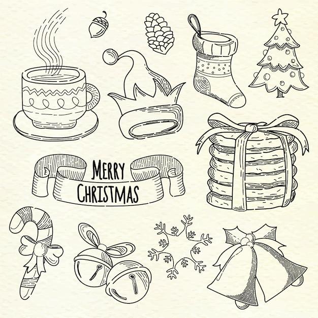 Ręcznie rysowane świąteczny element kolekcji Darmowych Wektorów