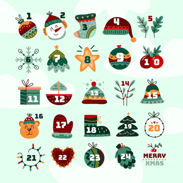 Ręcznie rysowane świąteczny kalendarz adwentowy Darmowych Wektorów