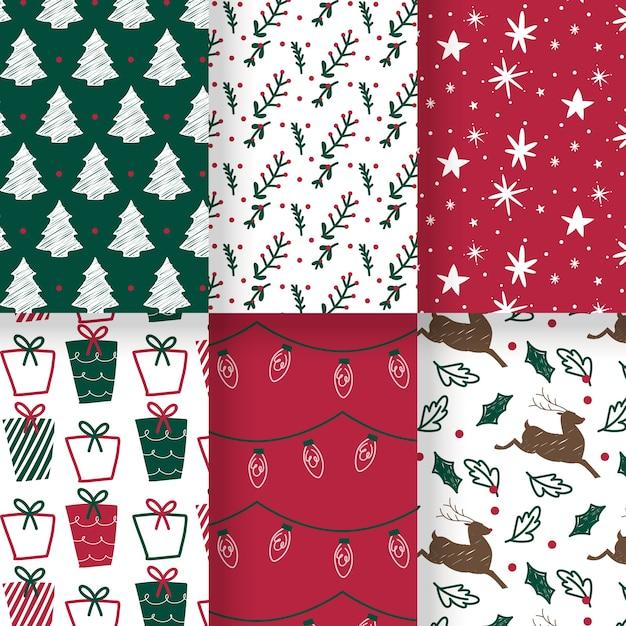 Ręcznie rysowane świąteczny wzór kolekcji Darmowych Wektorów