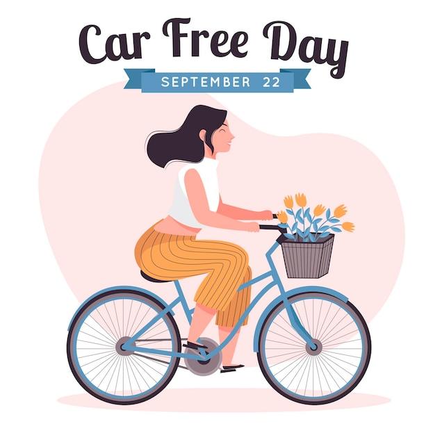 Ręcznie Rysowane światowy Dzień Bez Samochodu Tło Z Kobietą Darmowych Wektorów