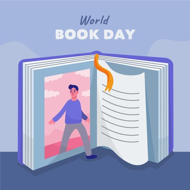 Ręcznie Rysowane światowy Dzień Książki Tapeta Z Otwartą Książką Darmowych Wektorów