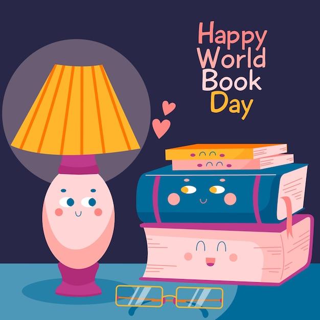 Ręcznie Rysowane światowy Dzień Książki Z Ilustrowanych Książek Darmowych Wektorów