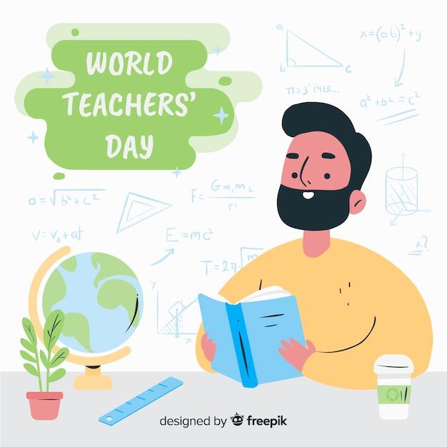 Ręcznie rysowane światowy dzień nauczyciela Darmowych Wektorów