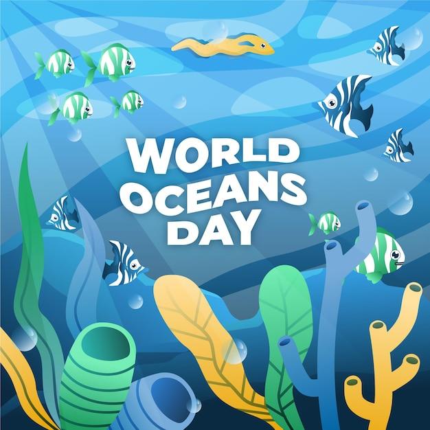 Ręcznie Rysowane światowy Dzień Oceanów Darmowych Wektorów