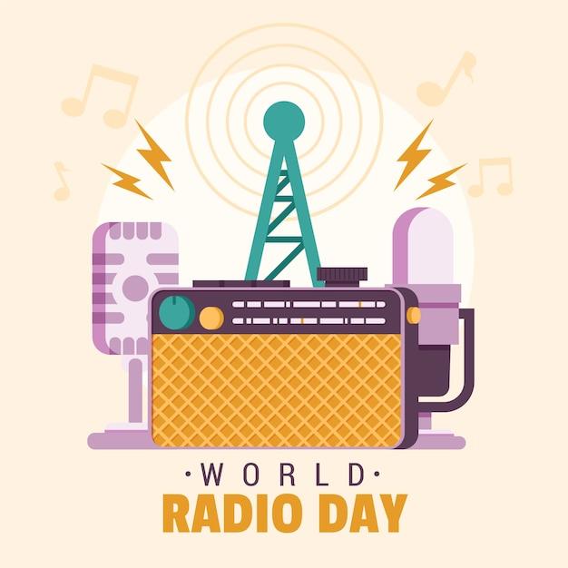 Ręcznie Rysowane światowy Dzień Radia I Anteny Darmowych Wektorów