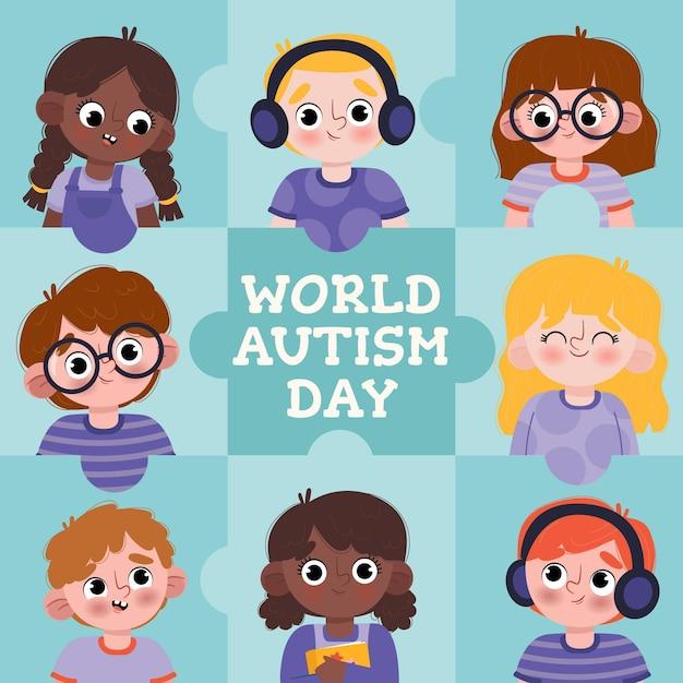 Ręcznie Rysowane światowy Dzień świadomości Autyzmu Ilustracja Darmowych Wektorów