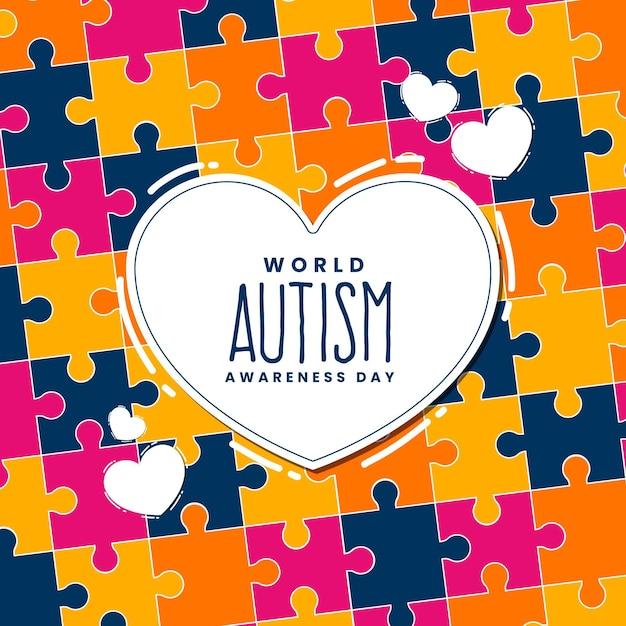 Ręcznie Rysowane światowy Dzień świadomości Autyzmu Z Puzzlami Darmowych Wektorów