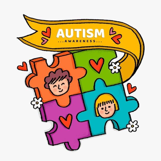 Ręcznie Rysowane światowy Dzień świadomości Autyzmu Darmowych Wektorów